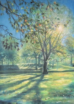Art trees, sunshine, landscape, grass, outdoors, green, for-her, for-him,  personalised online greeting card