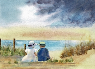 General children, boy, girl, seascape, beach, sand dunes, birthday, mothers day, Easter, holiday personalised online greeting card