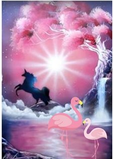 General Unicorn flamingo  personalised online greeting card