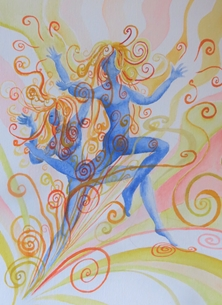 Little Liz Happy Art Dance art girls, ladies, dance, move, swirls, gemini, twins, dancing, for-her,  personalised online greeting card