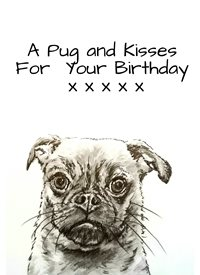 General pug dogs animals monochrome pets dad son  granddad  uncle mum daughter Nan aunt friend personalised online greeting card