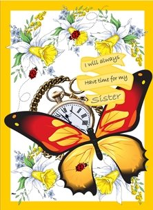 Birthday Butterfly Vintage pocket watch Ladybirds Orange Black Yellow Gold Happy  personalised online greeting card