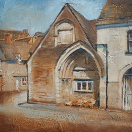 art Historic building Almshouse Malmesbury Acrylic painting  personalised online greeting card