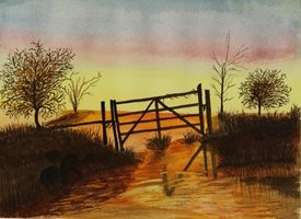 art Sunset five bar gate happy evening sunrise countryside  fields personalised online greeting card