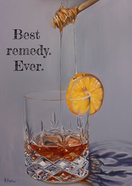 artistic hot toddy, remedy, cold remedy, flu remedy, whisky, whiskey, brandy, honey, runny honey, oil painting, realism personalised online greeting card