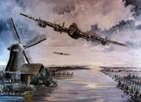 Art By Three  Lancaster Bomber: Below Radar art for-him lancasters bombers planes general blank all occasions for-him boyfriends dads uncles brothers birthday remembrance army soldiers pilots sunsets windmills wars holland water clouds  fathers  personalised online greeting card
