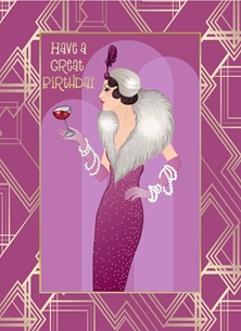 Birthday Art Deco, Retro, Lady, Pink, Gold, Cocktail personalised online greeting card