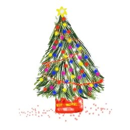 Christmas  Xmas tree lights multicoloured celebration winter festival red green yellow simple white background  personalised online greeting card