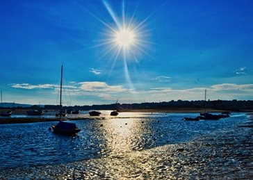 Photography sun, harbour, shimmering, summer, blue, sky, blue sky, water, sea, reflection, sunlight personalised online greeting card
