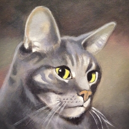 General art Bailey cat painting portrait pet animal cats personalised online greeting card