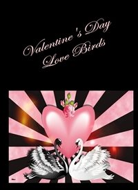 Valentine Love Birds Swans pink black white happy  personalised online greeting card