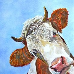 General artwork cow animals farmyard for-her for-him personalised online greeting card
