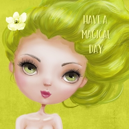 Birthday Fantasy, Mystical, Mermaid, Female, For-Her, Green, For-Children,  personalised online greeting card