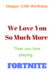 Her Nibs  Fortnite Game Card ~ Add your name of choice Fortnite Game, personalised online greeting card