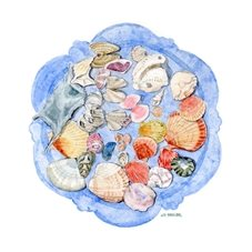 art seashells picture, blank card, seashore watercolour painting, beach, summer holiday personalised online greeting card