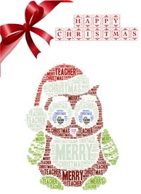 Christmas teacher, owl, red, festive, animals z%a personalised online greeting card