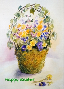 Tessa Spanton Artist Happy Easter Easter Easter, spring, flowers  personalised online greeting card
