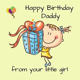 Her Nibs  Birthday Daddy  Birthday For Him Girl Gift Balloons Yellow Green Blue Orange  personalised online greeting card
