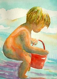 General artwork child  beach water for-children personalised online greeting card