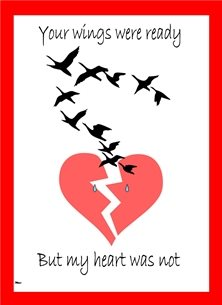 sympathy  Broken Heart Birds Flying Sad Red White Black  personalised online greeting card