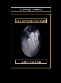 sympathy Sleeping Angel Cherub Black White Gold Sad  z%a personalised online greeting card