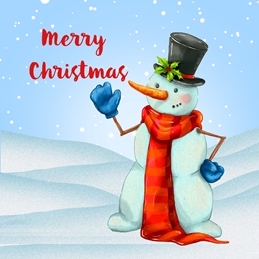 Christmas  Snowman, Snow, Cute personalised online greeting card