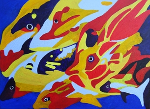 art Fish shoal, abstract, Fishes, Koi carp, under water scene, sea life, pond life, bright, bold colours, aquarium, contemporary art, children's, modern, uplifting, birthday wishes, man, lady, for him, for her, boyfriend, girlfriend, boys, girls, mum, dad, abstract art, colourful, fishing personalised online greeting card
