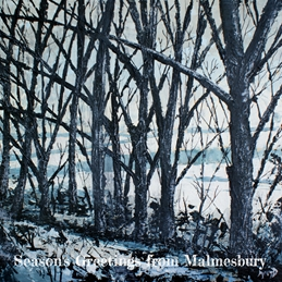 Christmas The Old Railways Track, Malmesbury. Christmas, art, painting personalised online greeting card