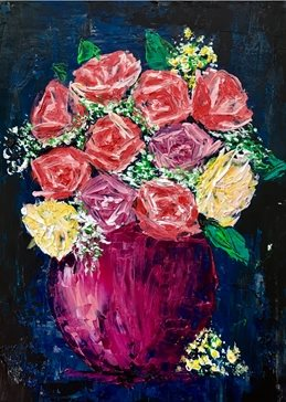 arty artistic  contemporary , roses, gypsophila, pinks, blues, oranges, yellows, creams, peach, rose, still life, impasto, palette knife, original , flowers, floral, bright, colourful, cheerful personalised online greeting card
