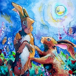 Art hares boxing, hares, rabbits, birthday animals, dad cards, dad birthday, personalised online greeting card
