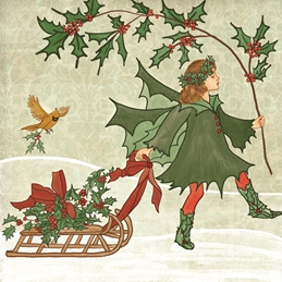 Christmas Holly, Winter, Cardinal, Sleigh, Fairy, Fae, Fantasy, Whimsical, Holidays personalised online greeting card