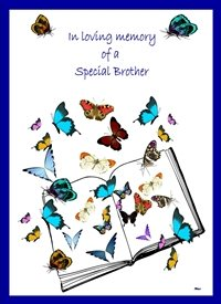 Sympathy Butterflies Open Book White blue yellow purple green orange red black sad  personalised online greeting card