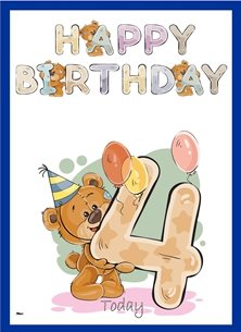 birthday children  Teddy Bear Number 4 Hat Balloons Purple Blue Yellow Happy  personalised online greeting card