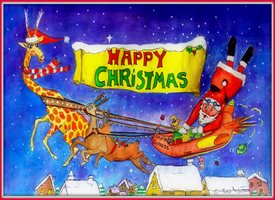 Christmas fun, reindeer,  gifts, sack, presents, snowman, snow, chimney,  z%a personalised online greeting card