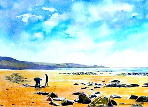 art beach sea sand coast people sky water for-her for-him personalised online greeting card