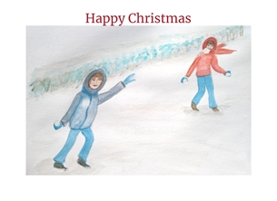 Christmas snow for-child playing children personalised online greeting card