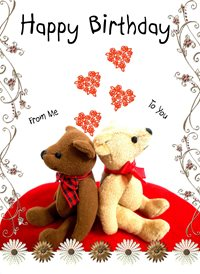 Birthday Bears hearts flowers love z%a personalised online greeting card