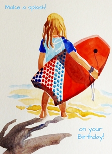 Birthday Girl surfer personalised online greeting card