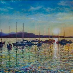 General sunset boats sunset harbour seascape summer Scotland holiday painting personalised online greeting card