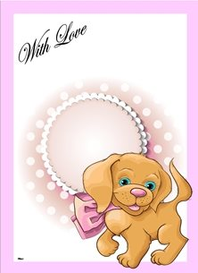 general Puppy Bow Pink White Brown Green Happy  personalised online greeting card