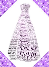 Birthday female dress purple black feminine girls  personalised online greeting card