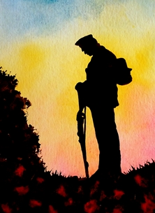 art ww1 ww2 war soldier poppies sunset  for-him for-her personalised online greeting card