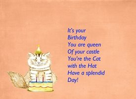 Birthday  for-her,cat, hat, celebration, joy, uplifting personalised online greeting card