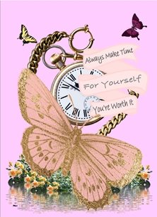 general Butterfly Watch Scroll Positive Inspirational Happy Pink Gold  personalised online greeting card
