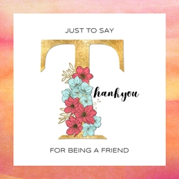 Thanks THANKYOU  friend gratitude personalised online greeting card