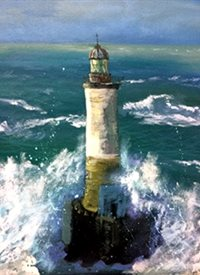 art Lighthouse, Sea, Stormy, Coast, France z%a personalised online greeting card