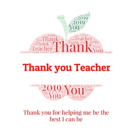 School thank you teacher, teacher card, apple,  personalised online greeting card