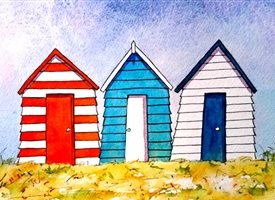 General beach huts seaside  holidays summer for-her for-him personalised online greeting card