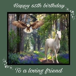 Birthday  horse , love ,friends, 65th  personalised online greeting card