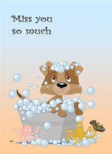 General Puppy Bath Bubbles Octopus Old Boot Blue Orange Green  personalised online greeting card